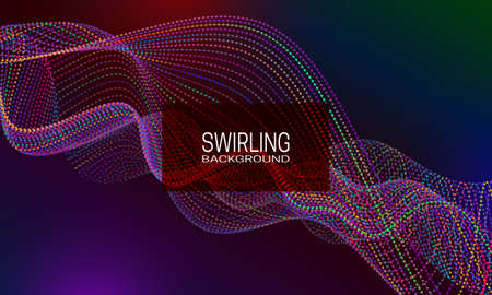 Swirling background design with multicoloured dotted stream. Abstract dynamic background for banner, flyer or poster.