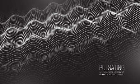 Pulsating monochrome background design with ripple of dots and lines. Abstract vibrating background for banner, flyer or poster.
