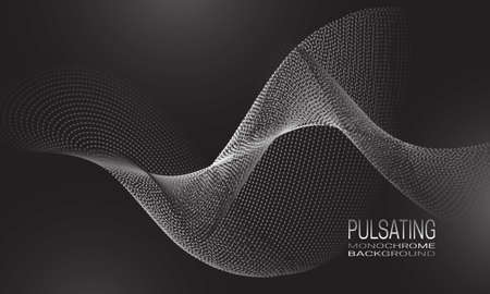 Pulsating monochrome background design with wave flow of dots and lines. Abstract futuristic background for banner, flyer or poster.