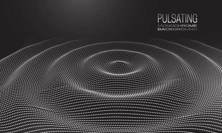 Pulsating monochrome background design with wavy ripple of dots and lines. Abstract cyberspace background for banner, flyer or poster.