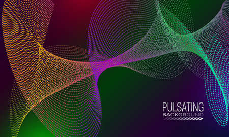 Pulsating futuristic background design with colourful dots and lines array. Abstract cyberspace background for banner, flyer or poster.