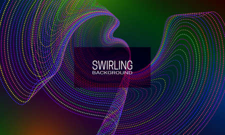 Swirling background design with colourful dotted flow. Abstract dynamic background for banner, flyer or poster.