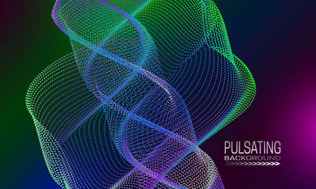 Pulsating futuristic background design with colourful spiral element of dots and lines. Abstract cyberspace background for banner, flyer or poster. Illustration