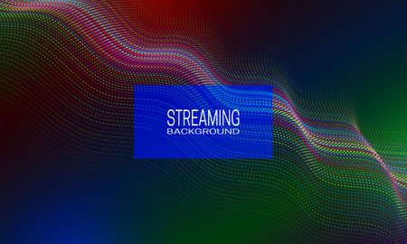 Streaming background design of iridescent wavy strings. Abstract background for banner, flyer or music poster.