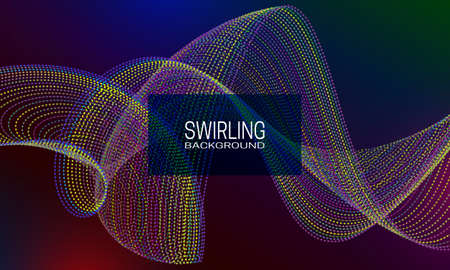 Swirling background design with colourful stream of beads. Abstract dynamic background for banner, flyer or poster. Illustration