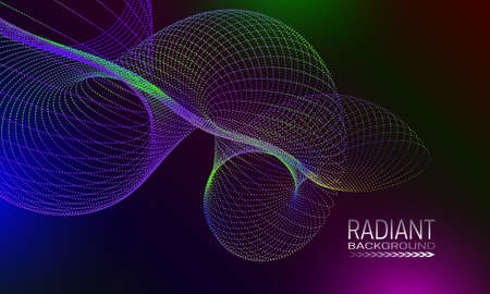 Radiant background design with colourful dots and lines abstraction. Futuristic cover background.