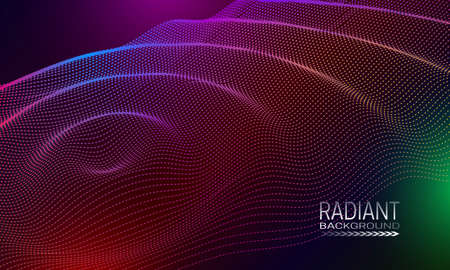 Radiant wavy background design with multicoloured dots and lines array. Abstract cyberspace background.