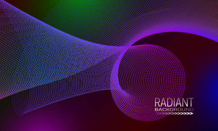 Radiant futuristic background design with multicoloured dots and lines array. Abstract space curvature background. Illustration