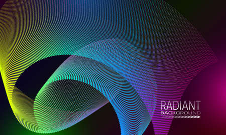 Radiant futuristic background design with dotty curved element. Abstract cyberspace background. Illustration