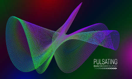 Pulsating futuristic background design with colourful dots and lines structure. Abstract cyberspace background for banner, flyer or poster.