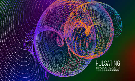 Pulsating futuristic background design with iridescent spiral element of dots and lines. Abstract cyberspace background for banner, flyer or poster.
