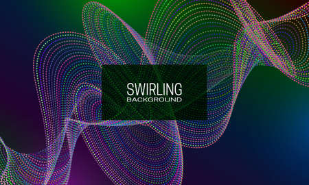Swirling background design with multicoloured flow of dots and lines. Abstract iridescent background for banner, flyer or poster. Illustration