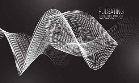 Pulsating monochrome background design with wavy stream of dots and lines. Abstract dynamic background for banner, flyer or poster.