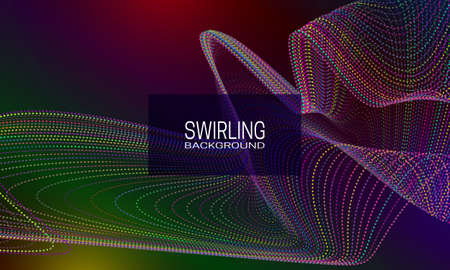 Swirling background design with colourful stream of dots and lines. Abstract dynamic background for banner, flyer or poster.