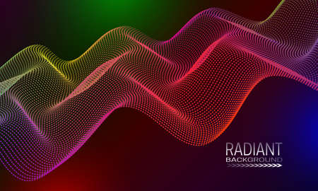 Radiant wavy background design with multicoloured dots and lines stream. Abstract cyberspace curvature background.