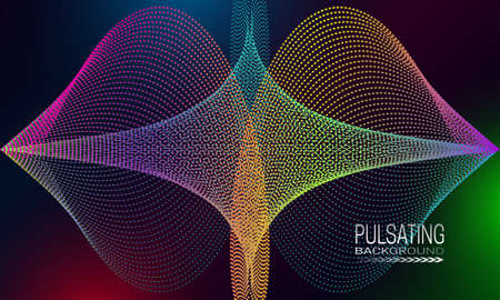 Pulsating futuristic background design with iridescent dots and lines array. Abstract cyberspace background. Illustration