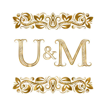 U and M vintage initials  symbol. The letters are surrounded by ornamental elements. Wedding or business partners monogram in royal style.