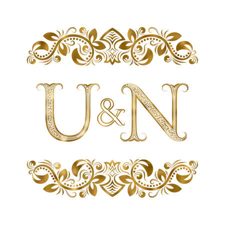 U and N vintage initials  symbol.  The letters are surrounded by ornamental elements. Wedding or business partners monogram in royal style.