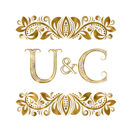 U and C vintage initials  symbol. The letters are surrounded by ornamental elements. Wedding or business partners monogram in royal style. Illustration