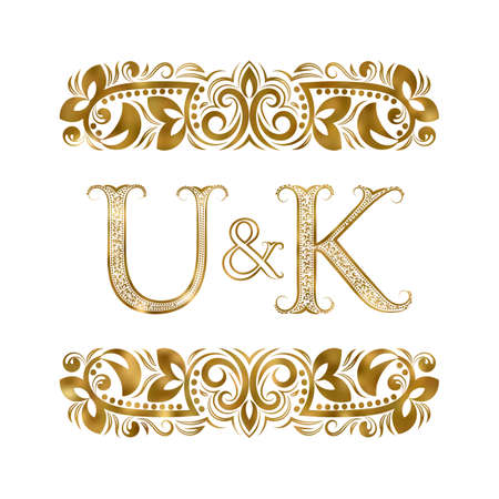 U and K vintage initials  symbol.  The letters are surrounded by ornamental elements. Wedding or business partners monogram in royal style. Illustration