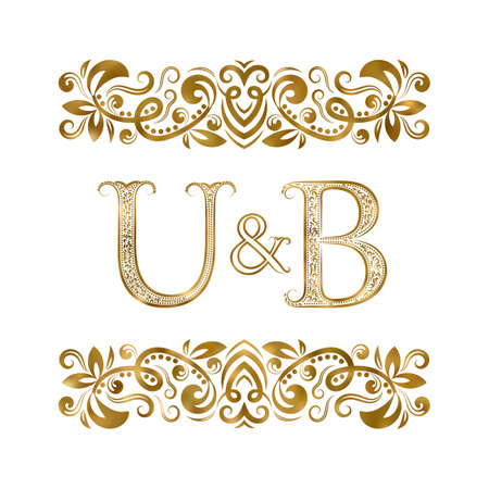 U and B vintage initials  symbol. The letters are surrounded by ornamental elements. Wedding or business partners monogram in royal style.