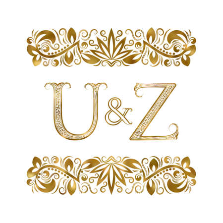 U and Z vintage initials  symbol.  The letters are surrounded by ornamental elements. Wedding or business partners monogram in royal style.