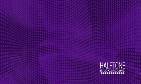 Halftone background design with monochrome purple curved space. Abstract printing raster of cyberspace style.