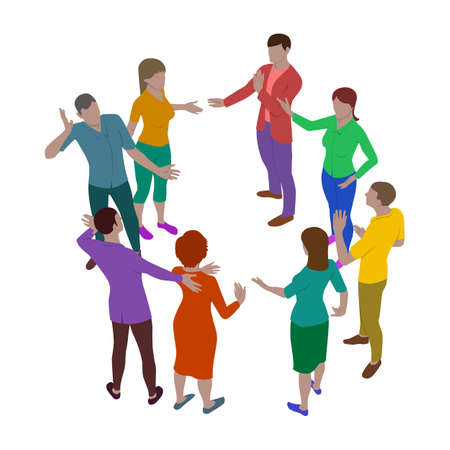 Four women and four men talk emotionally while standing in a circle. Group of people in isometric view. Meeting of employees or couples.