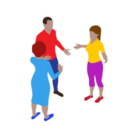 Two women and a man talk emotionally while standing. Scene of three people in isometric view. Isolated team of staff.