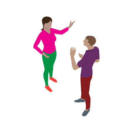 Isolated man and woman talk emotionally while standing. Scene of people in isometric view.