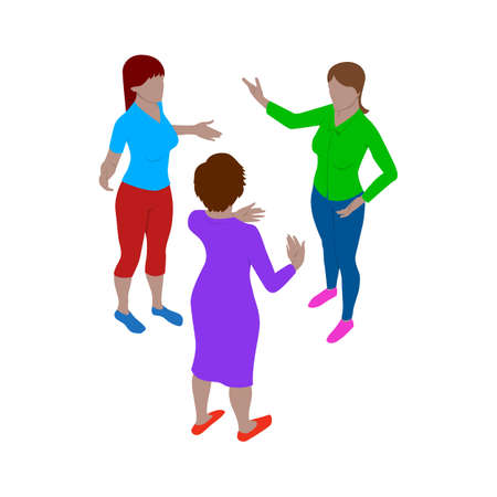 Three women talk emotionally while standing. Scene of people in isometric view. Isolated team of staff.