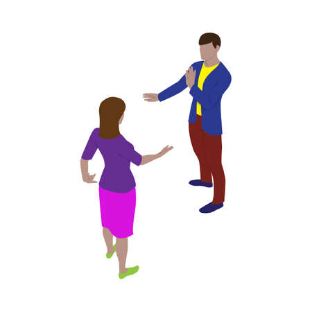Isolated man and woman talk and gesticulate while standing. Scene of people in isometric view.