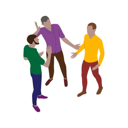 Three men talk emotionally while standing. Scene of people in isometric view. Isolated team of staff.  イラスト・ベクター素材