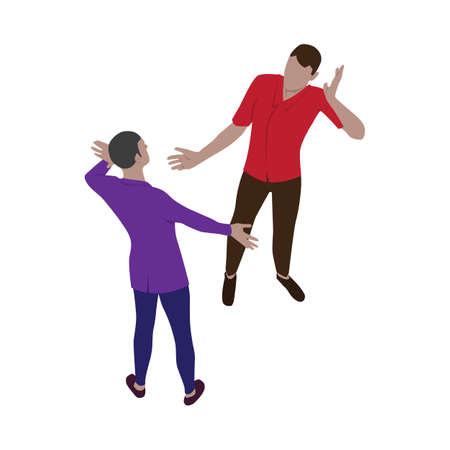 Two men emotionally greet each other. Isolated people in isometric view. Scene of friends, partners or colleagues in isometry.