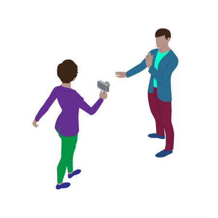 Woman video blogger shoots a man on camera. Isometric view. A man gives an interview to a journalist.