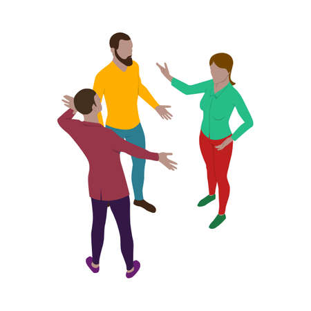 Two man and a women talk energetically while standing. Scene of three people in isometric view. Isolated team of staff.  イラスト・ベクター素材