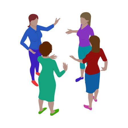 Group of women talk energetically while standing. Scene of three people in isometric view. Isolated team of staff.