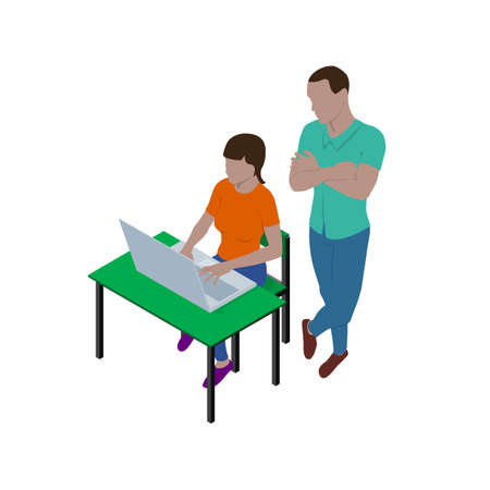 Girl sitting at desk with laptop and guy is standing nearby and watching what she is doing. People in isometric view. Teacher and student or boss and employee. Vector Illustratie