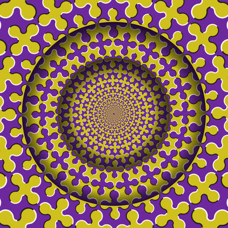 Abstract round frame with a moving purple yellow cruciform shapes pattern. Optical illusion hypnotic background. Stock Illustratie