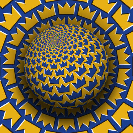 Optical illusion hypnotic vector illustration of crown shapes pattern. Patterned blue golden globe soaring above the same surface.