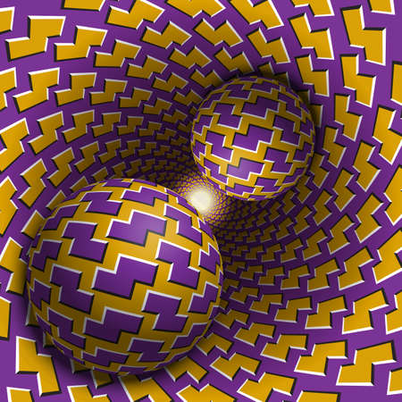 Two balls are moving in hole. 3d objects of zigzag shapes pattern. Optical illusion abstraction in a surreal style.