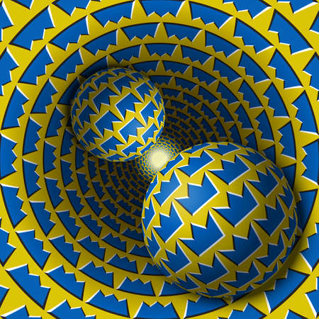 Two balls are moving in hole. 3d objects of crown shapes pattern. Optical illusion abstraction in a surreal style.