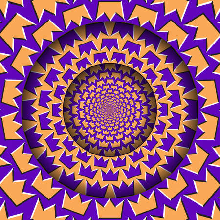 Abstract round frame with a moving purple orange crown shapes pattern. Optical illusion hypnotic background.