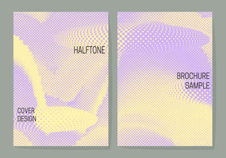 Light pastel cover design templates with purple yellow halftone dotted backgrounds. Layouts for book, brochure, booklet, leaflet or journal covers.