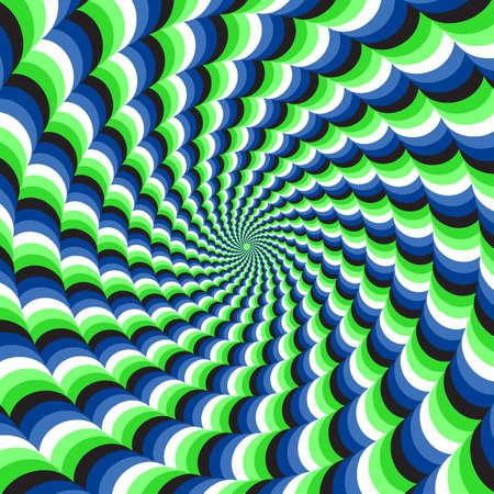 Optical motion illusion vector background. Blue green wavy spiral stripes move around the center. Ilustración de vector