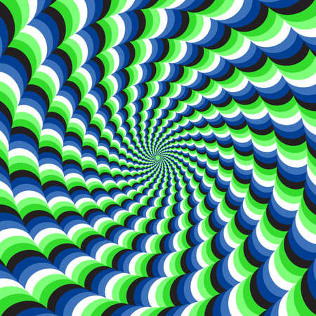 Optical motion illusion vector background. Blue green wavy spiral stripes move around the center. 向量圖像