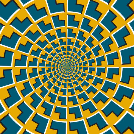 Optical motion illusion vector background. Blue corners shapes move around the center on golden background. Vecteurs
