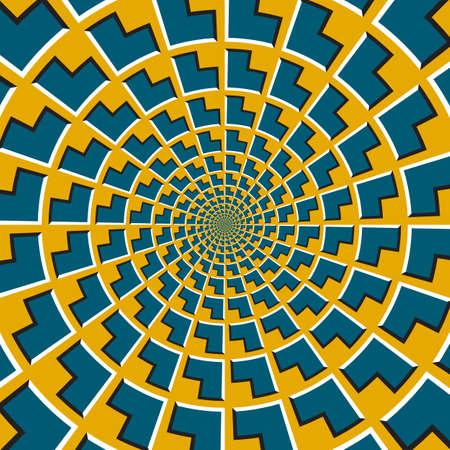 Optical motion illusion vector background. Blue corners shapes move around the center on golden background. Vektoros illusztráció