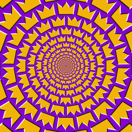Optical motion illusion vector background. Golden crown shapes move around the center on purple background.