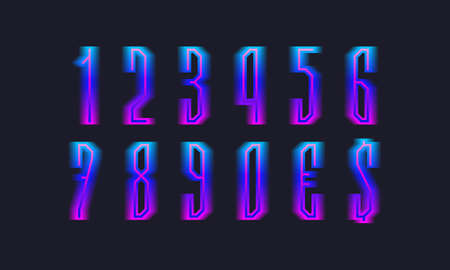 Blue pink gradient isolated numbers and currency signs. Luminous display font.